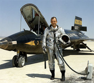 NASA file photo - Test pilot Bill Dana standing in front of his X-15 rocketplane