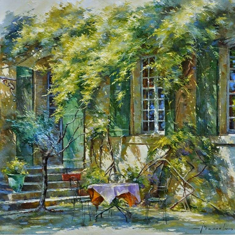 Im genes arte pinturas coloridos cuadros de casas con - Oleos de jardines ...