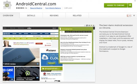 Android Central Chrome extension