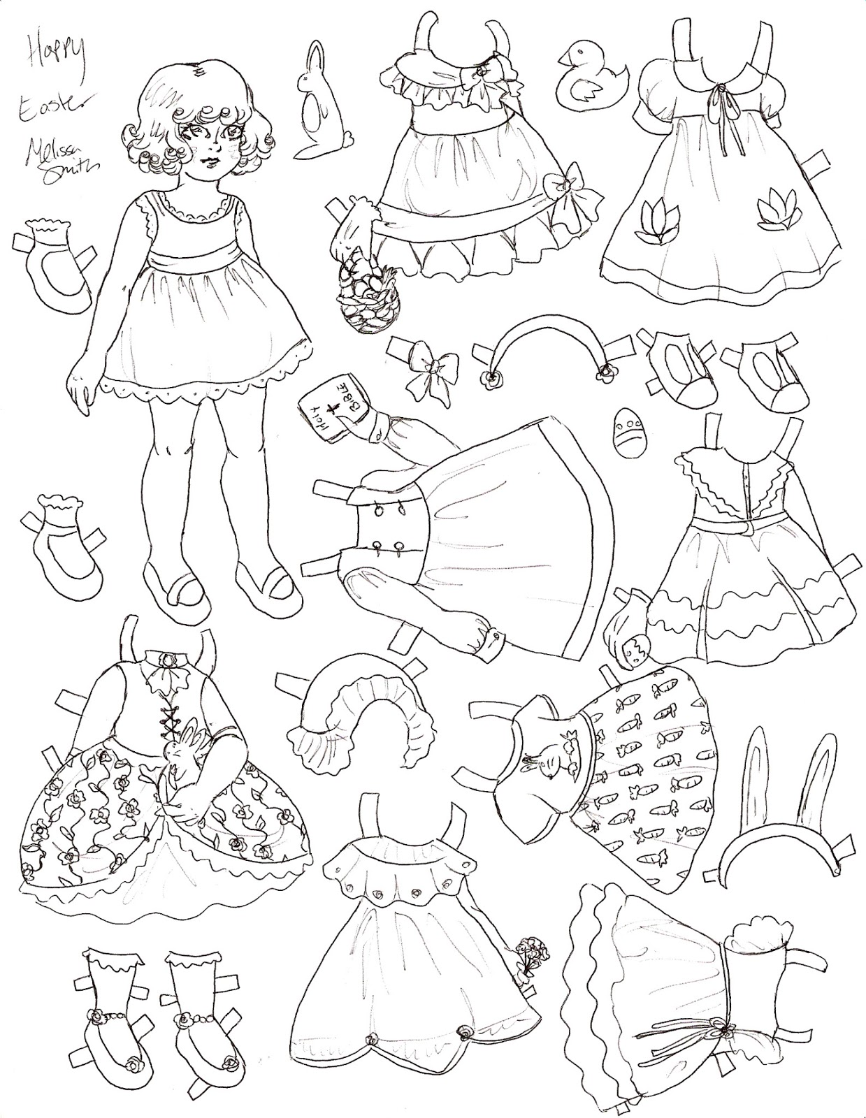 miss missy paper dolls happy easter paper doll