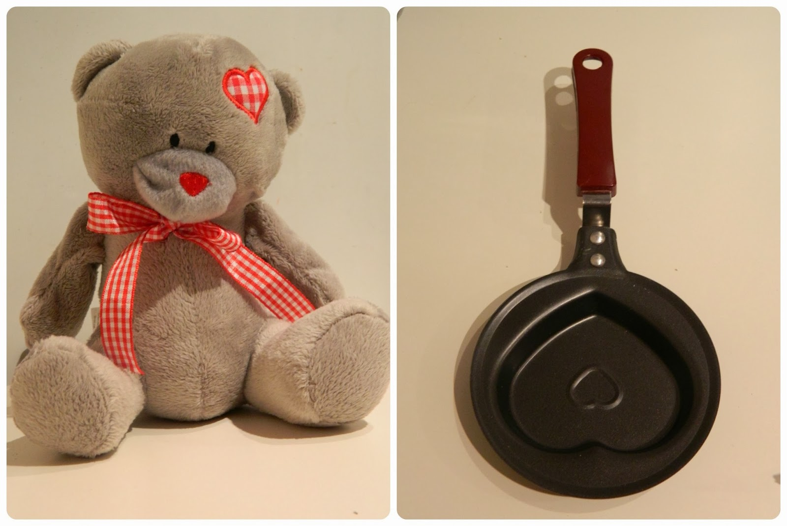 Home Bargains Valentine's Teddy Bear and heart shaped frying pan