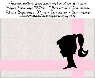 Etiquetas para imprimir gratis de Barbie Silueta, para botellas de champagne.