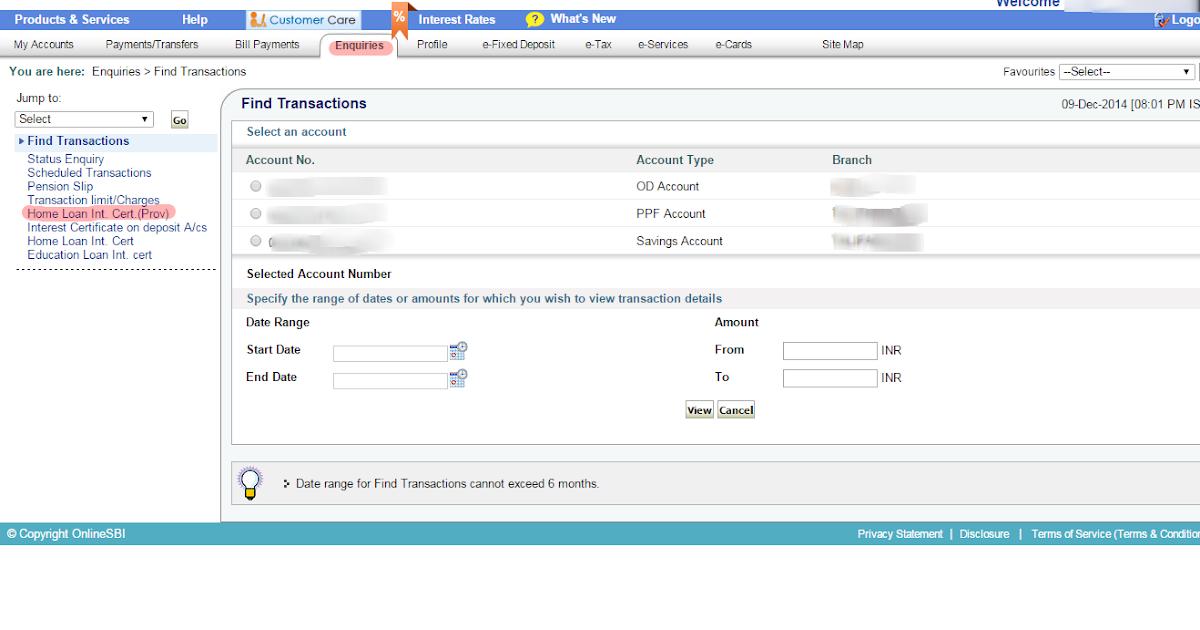 SBI MaxGain Home Loan - Generating Provisional Certificate for Income Tax Returns Filing