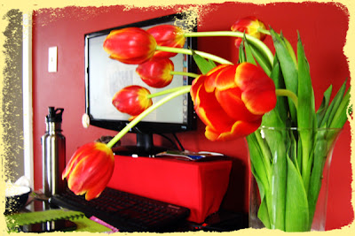 tulips on my desk
