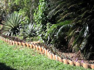 clay tile garden bed edging