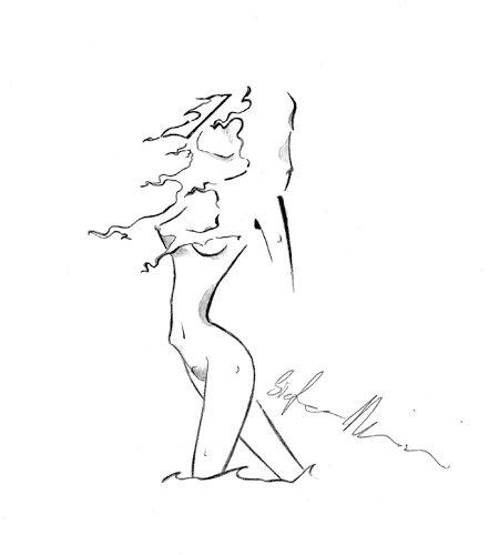 donna ragazza mare nudo dipinti pittura orme magiche quadro dipinto disegno pittura spirituale arte zen