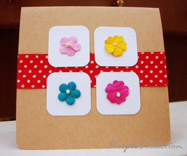 Square Birthday Cards, polka dots, floral