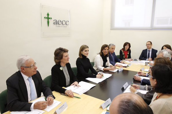 Queen Letizia of Spain attends a Working meeting of the Spanish Association Against Cancer (AECC) at AECC headquarters in Madrid