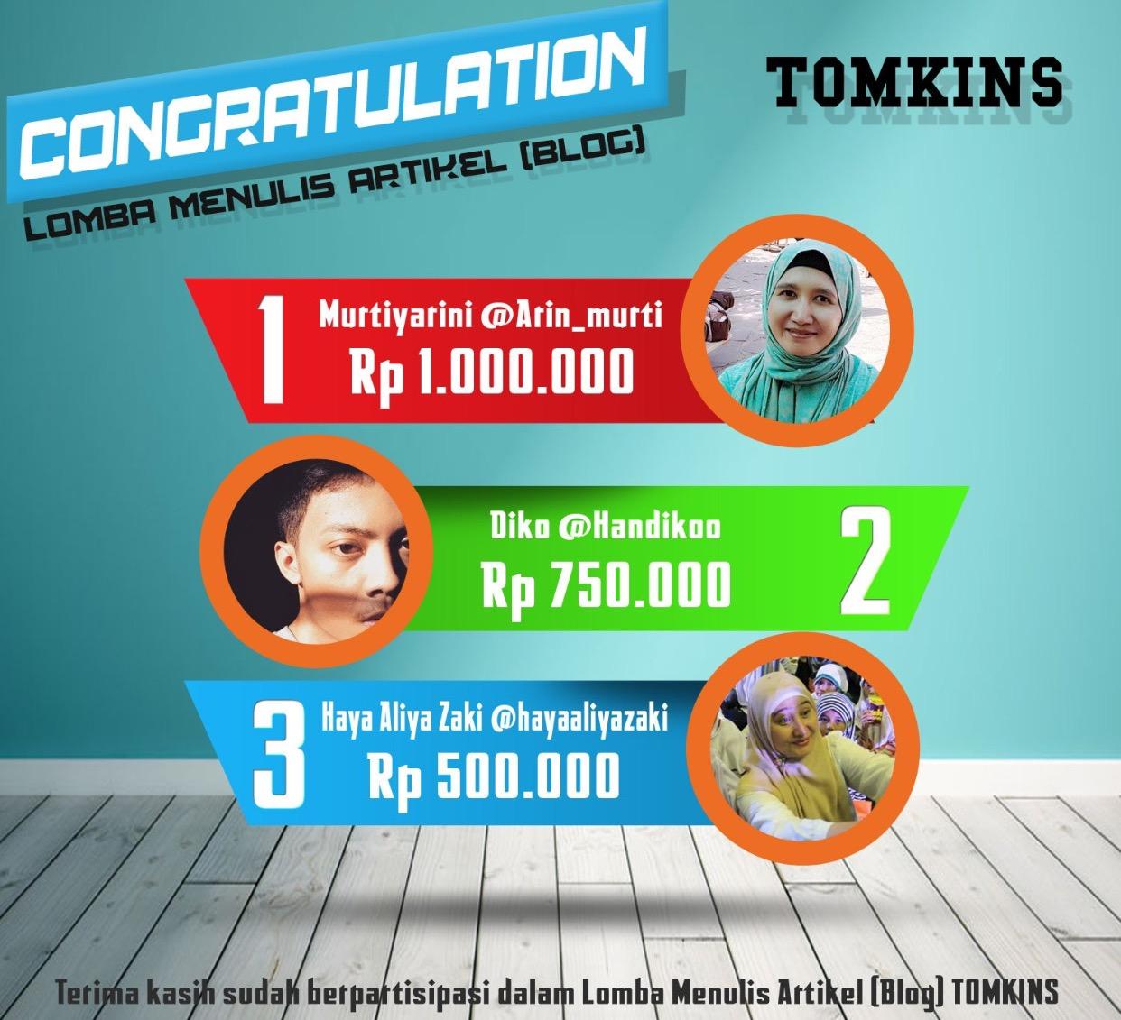Pemenang 3 lomba blog TOMKINS