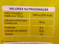 """Valores nutricionales del Pan de molde """"Producto Económico Alcampo"""" (también conocido como """"Primer Precio"""" o """"del pulgar"""")"""