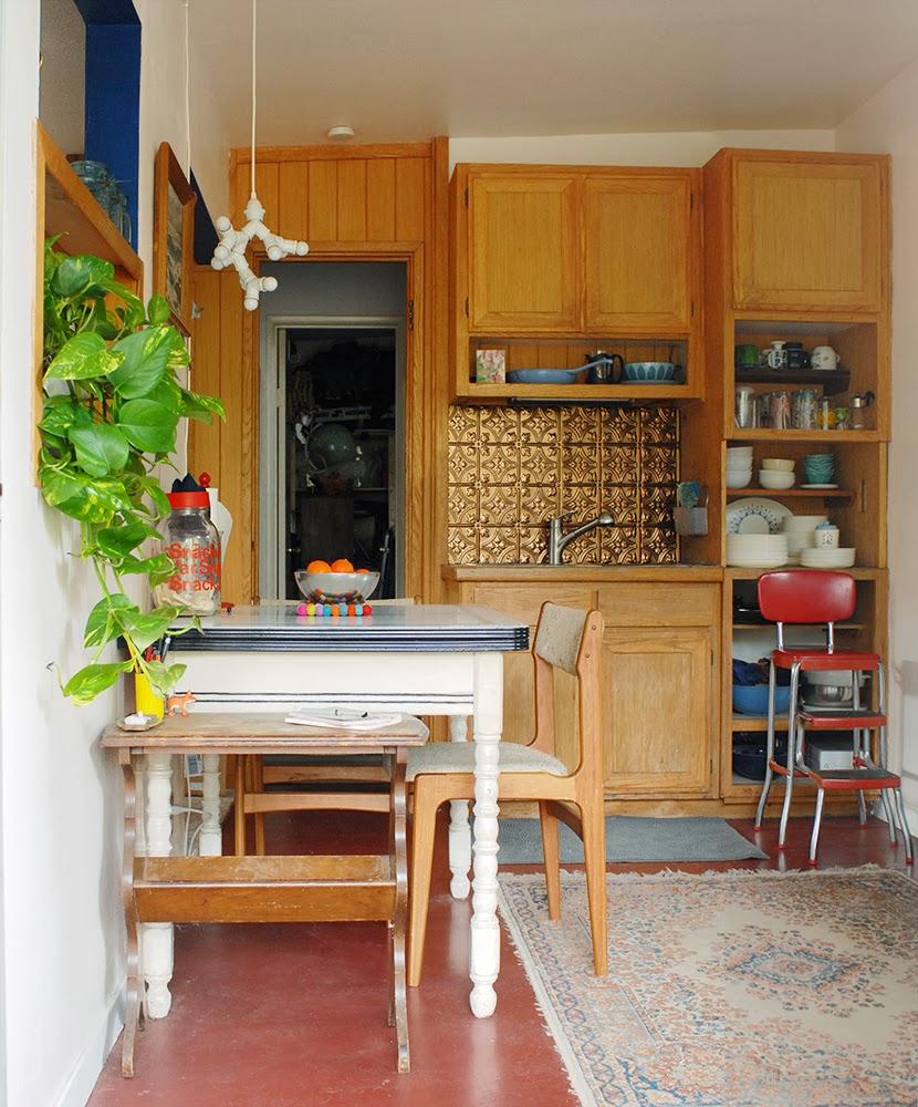 a living space: diy metallic kitchen backsplash