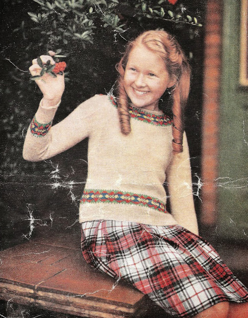 The Vintage Pattern Files Free 1950's Knitting Pattern - Girl's Fair Isle Border Jersey