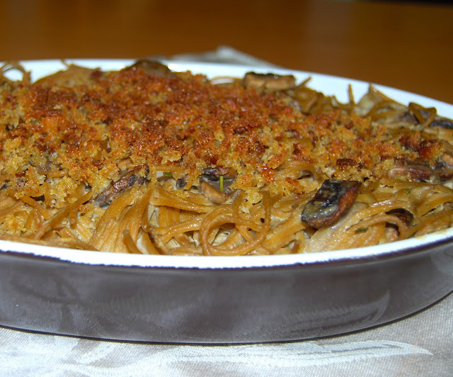 Spaghetti Gratin with Artichoke Cashew Cheese