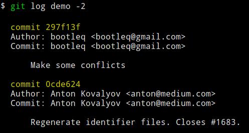 demo branch 的 log