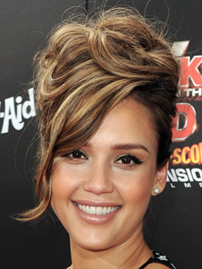 Jessica Alba piles her hair high for this sexy, retro-inspired updo.