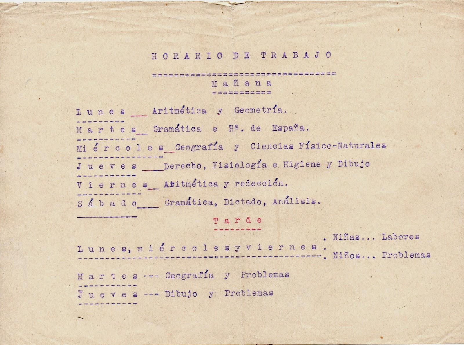 Melitina Álvaro Blázquez - Material escolar - 1933-1940 - Horario escolar