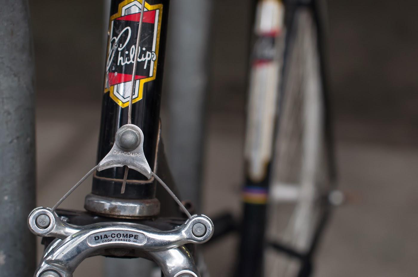 single speed, bike, bicycle, tim macauley, the biketorialist, melbourne, road bike, conversion,  custom, phillips, vintage, dia-compe, dia-tech, cantilever, brakes, badge, logo, sticker, decal
