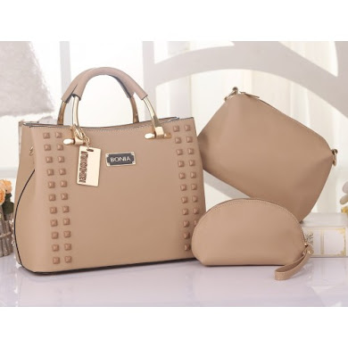 BONIA DESIGNER BAG - 3 IN 1 SET ( KHAKI )