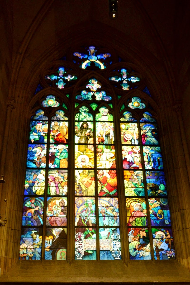 Glass painting design by alfons mucha in st. vitus cathedral in prague