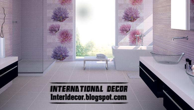 Wall tile designs for bathroom in purple color purple tiles for Purple bathroom tiles ideas