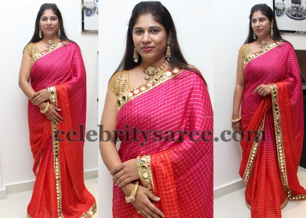 Sweta Reddy Mirror Work Saree