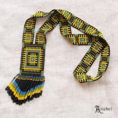 купить приобрести заказать этническое украшение из бисера ручной работы яркий гердан гайтан украина анабель Anabel