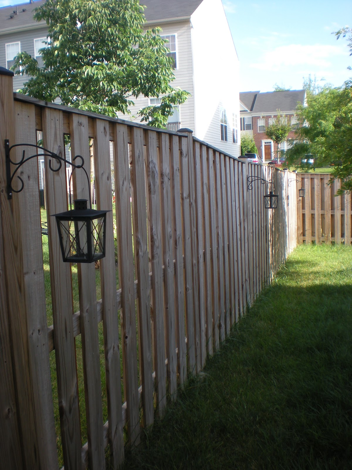 Backyard Lights Along Fence He lined the fence with