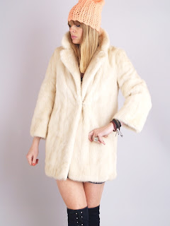Vintage 1960's white mink fur coat.