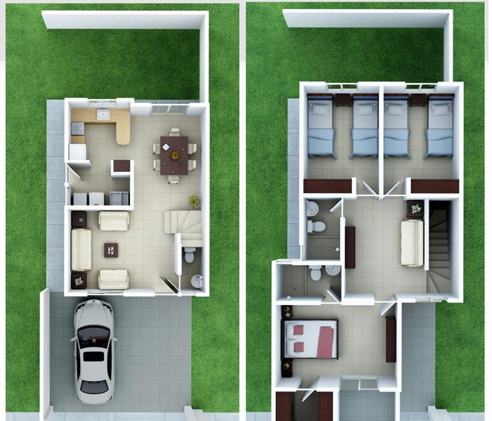 Planos de casas y plantas arquitect nicas de casas y - Casas dos plantas pequenas ...