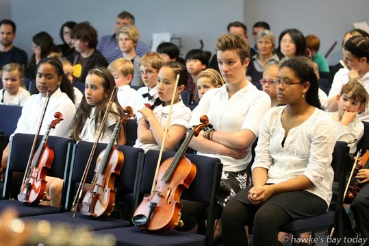 Musicians wait their turn to perform at Grand Concert 2014, a concert by the Hawke's Bay branch of New Zealand Suzuki Institute, at Havelock North Function Centre, Havelock North. photograph