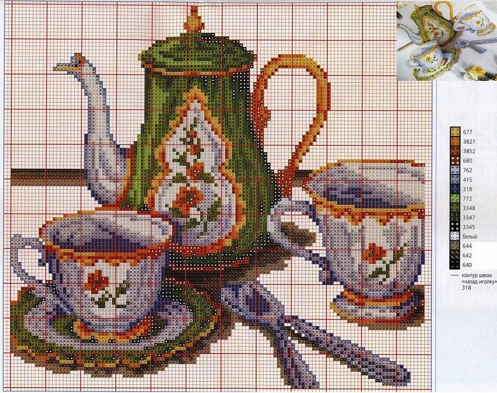 Схема вышивки бисером чашки