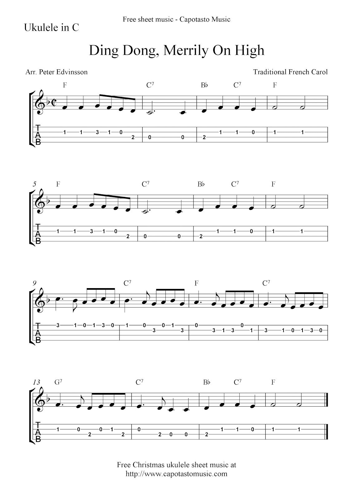 Ding Dong, Merrily On High, free Christmas ukulele tab sheet music
