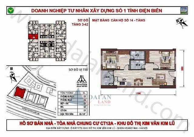 Căn 14 - Tòa CT12A Chung Cư Kim Văn Kim Lũ