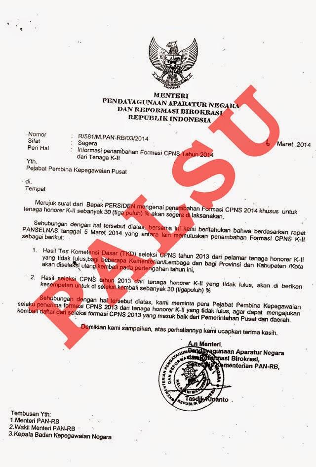 Surat Palsu Formasi CPNS dari Tenaga Honorer