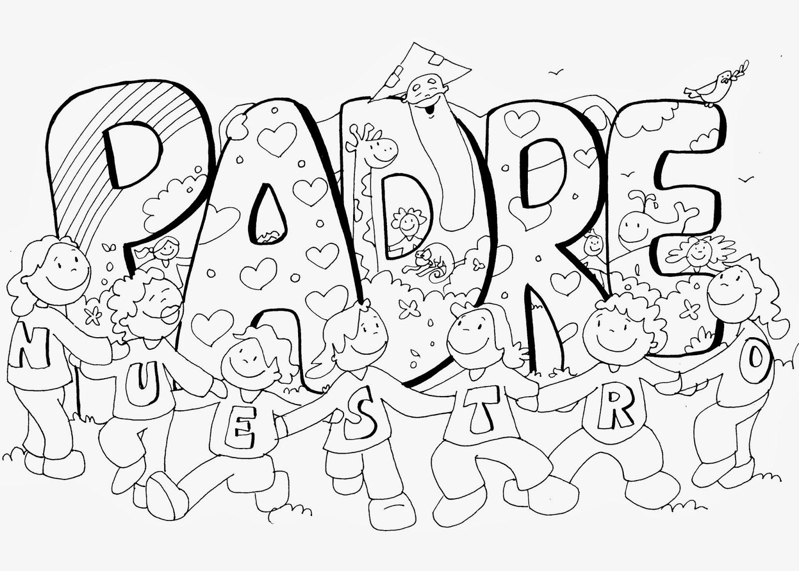 Dibujo del Padre Nuestro para colorear ~ Dibujos Cristianos Para ...