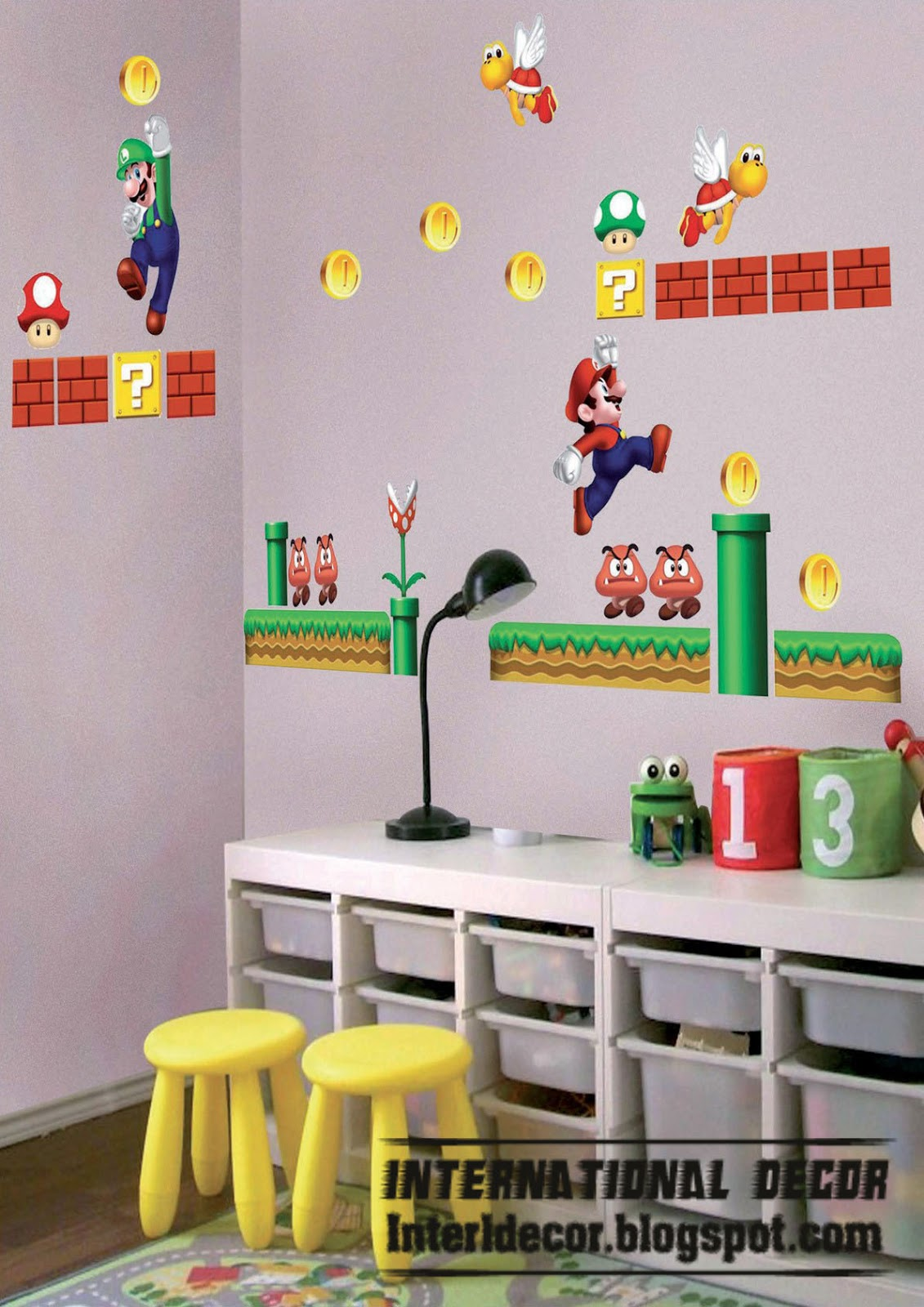Super mario wall stickers mario kids room designs international decoration - Mario wall clings ...