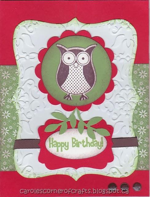 Caroles Corner Of Crafts Su239 Happy Birthday Owl Card