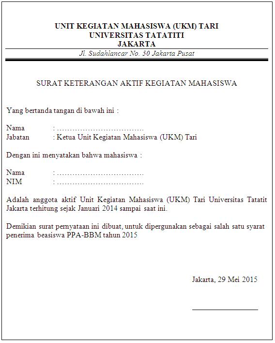Surat Keterangan Aktif Kegiatan Organisasi