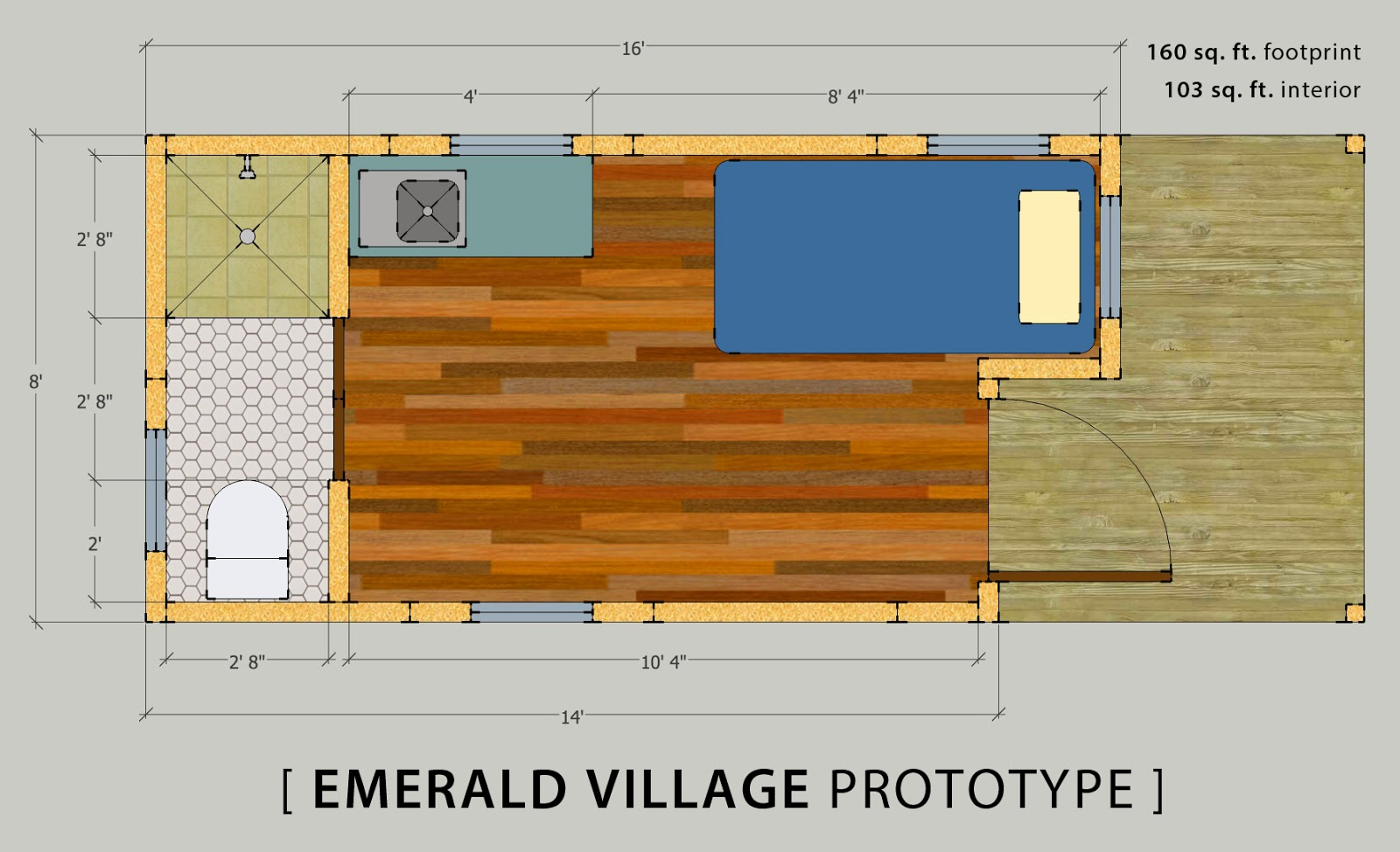 Tiny house prototype that meets 2015 irc minimum area for Bathroom remodel 70 square feet