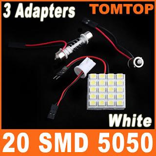 White 20 SMD 5050 LED Car Interior Light Panel T10 Dome BA9S Adapter DC 12V
