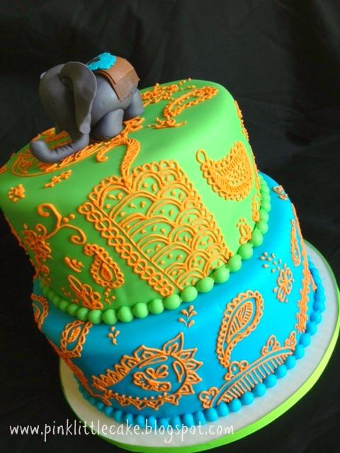 Pink Little Cake Elephant Indian Theme Birthday Cake