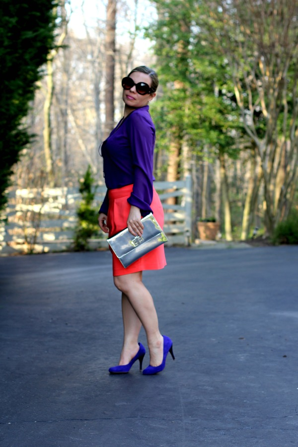Orange Tulip Skirt - Zara, Shear Blouse - Banana Republic, Blue Pumps - Sole Society, Baroque Round Sunglasses - Prada, Clutch & Accessories - TJ Maxx