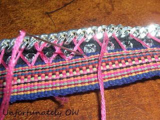 stitching on jewelery