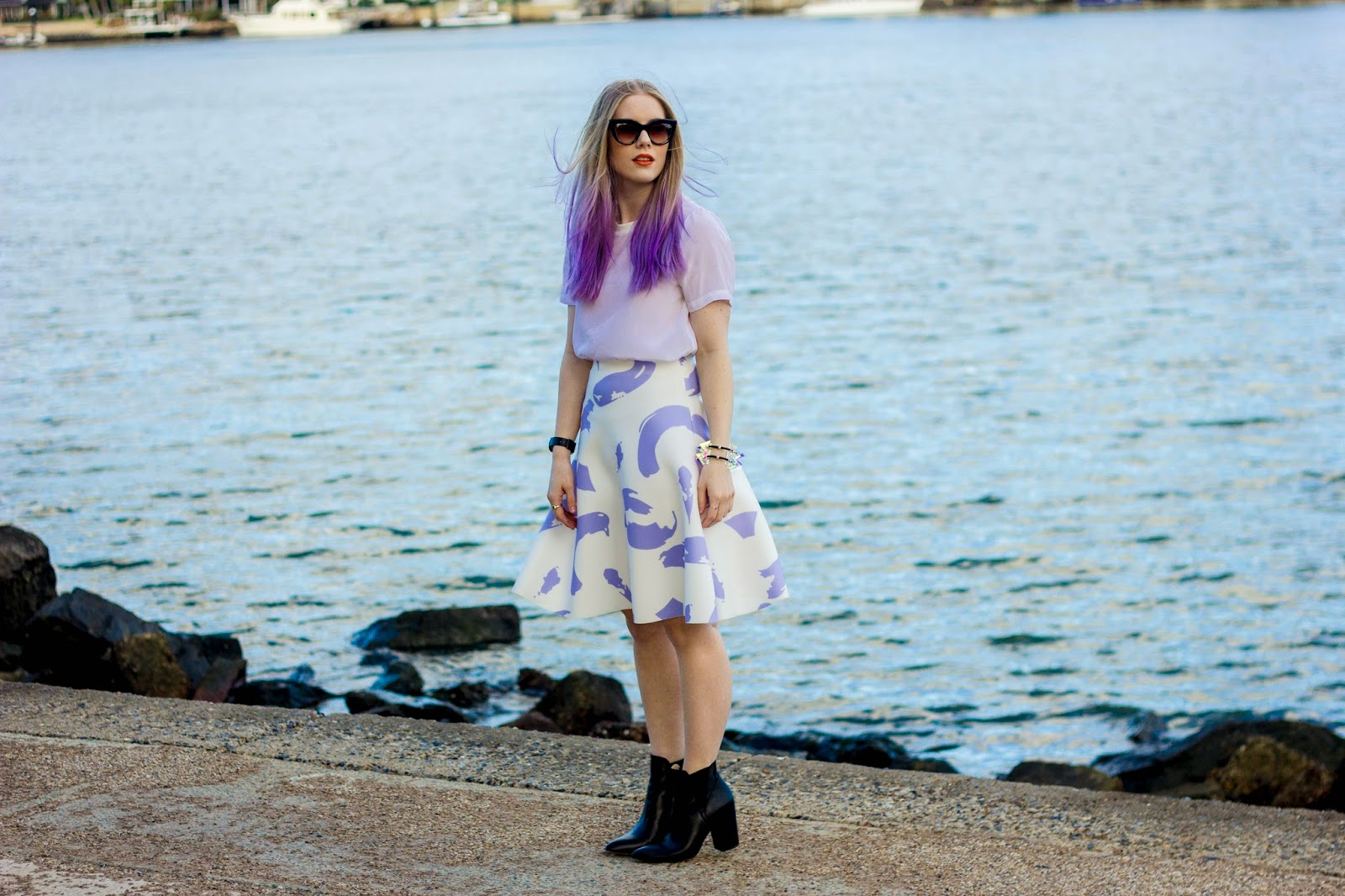 Pip O'Sullivan fashion blog, outsideiscolours, outside is colours blog, Pedestrian Blogster Awards, purple hair, dip dye, ombre hair, Ciara Clark, perspex jewellery, perspex spike bracelet, iridescent, Brisbane fashion blogger, Sheike, Celine paint strokes skirt, Sheike lilac paint strokes skirt, Glassons silk t-shirt, ASOS leather boots, ASOS Einstein boots black,