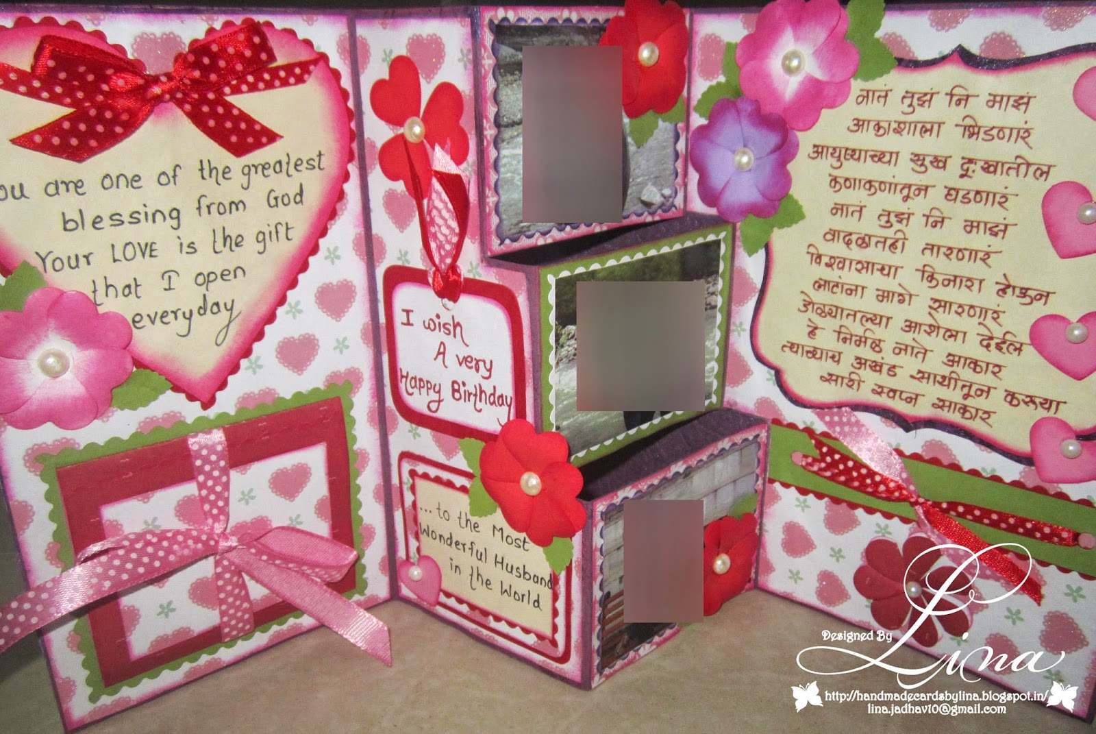 Linas handmade cards 3 step birthday card for husband this is how it looks when you opens it thecheapjerseys Images
