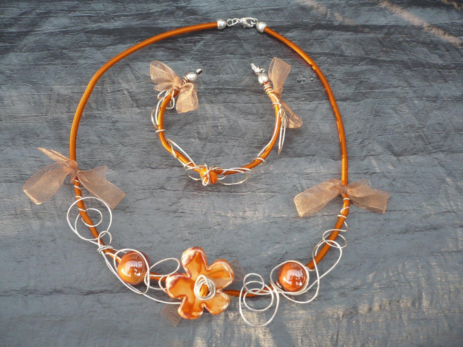 La perle au doigt ensemble bracelet collier fil lastique orange - Fil elastique pour bracelet ...
