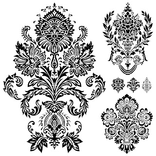Free 6 Digi Stamps Flourish Ornaments Damask.