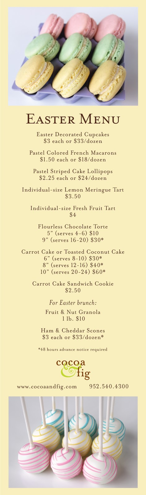 Easter Dessert Menu Minneapolis