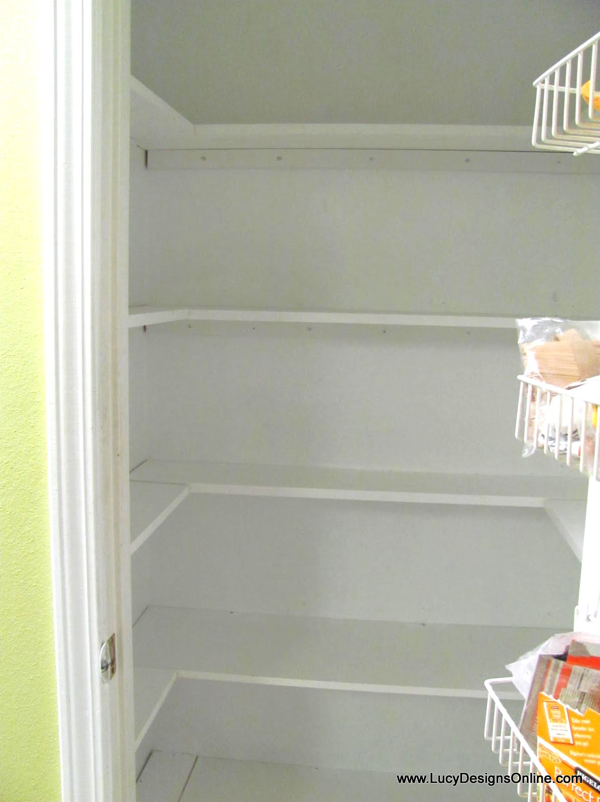 Kitchen Pantry Makeover DIY Installing Wood Wrap Around Shelving to ...