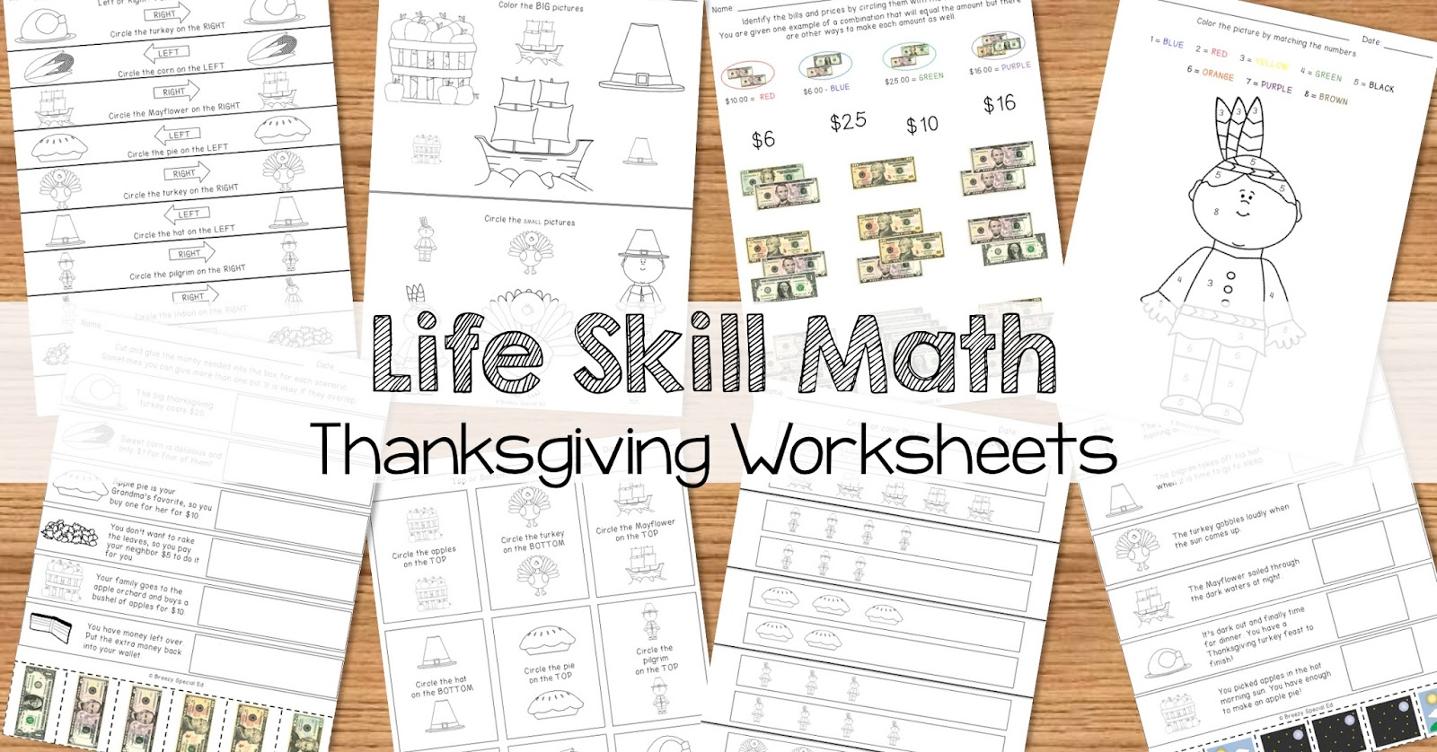 Breezy Special Ed: Math Life Skill Worksheets: Thanksgiving Themed
